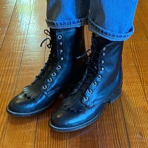 Laredo Black Leather Kilt Flap Ankle Lace Up Boots